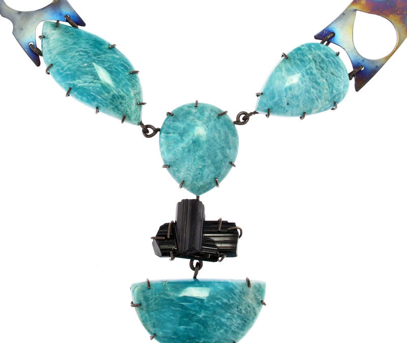 amazonite and black tourmaline necklace
