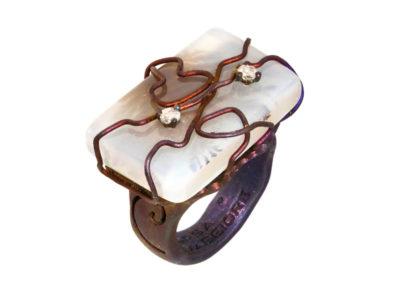 dubhe - rectangular musk agate ring pic1