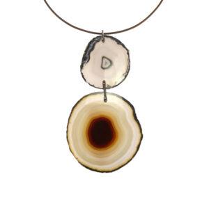 merak - agate necklace with titanium section pic3