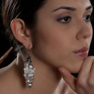 merak - biterminated hyaline quartz mono earring pic3