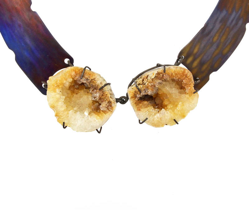 citrine geode necklace