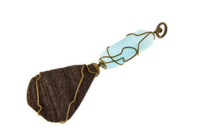 wood fossil and blue aragonite pendant