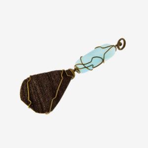 merak - wood fossil and blue aragonite pendant pic2
