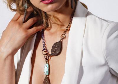 merak - wood fossil and blue aragonite pendant pic3