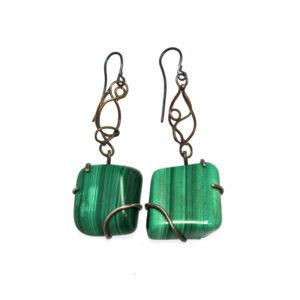 mizar - malachite earrings pic1
