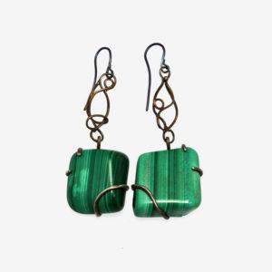 mizar - malachite earrings pic2