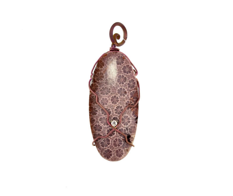 fossil red coral pendant
