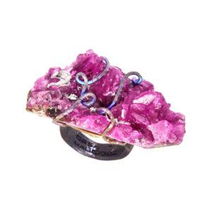 merak - cobaltian calcite ring golden blue satin pic1