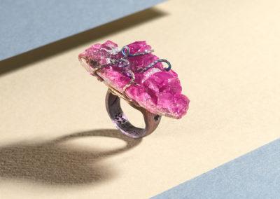 merak - cobaltian calcite ring golden blue satin pic3