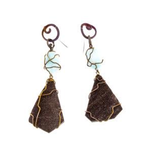 merak - fossil wood and blue aragonite earrings pic1