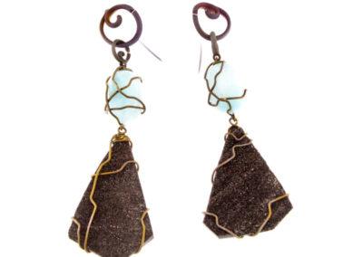 fossil wood and blue aragonite earrings
