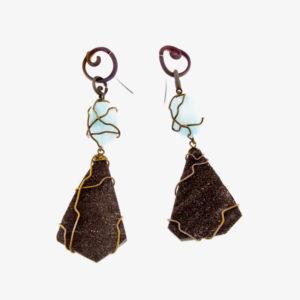 merak - fossil wood and blue aragonite earrings pic2