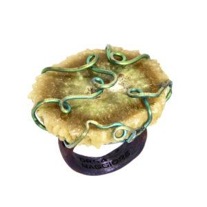 mizar - agate ring golden green-blue satin pic1