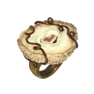 mizar - agate ring golden satin pic1