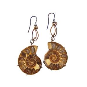 mizar - ammonite fossils earrings pic1