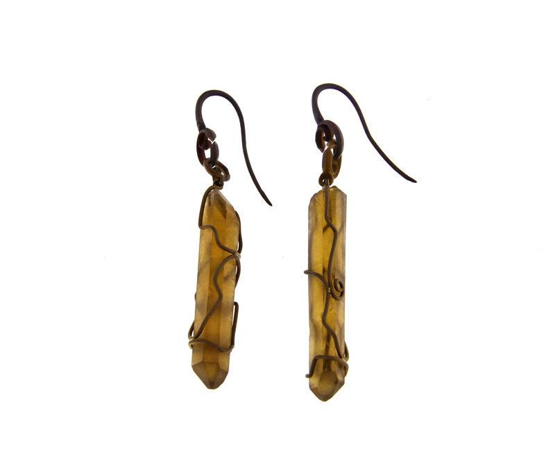 citrine quartz earrings