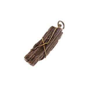 mizar - fossil wood pendant golden finish pic1