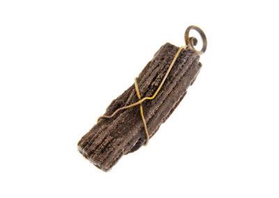 fossil wood pendant golden finish
