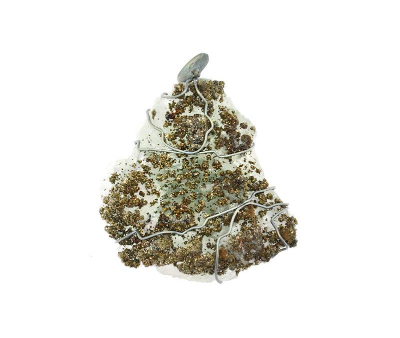 pyrite on green quartz pendant